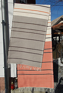 Úžitkový textil - oranžovo smotanovo šedý - 10440597_