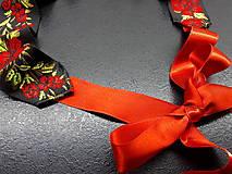 Opasky - Folk opasok kvetinový červeno-čierna kombinácia (Jednostranný s červenou stuhou) - 10440262_