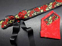 Opasky - Folk opasok kvetinový červeno-čierna kombinácia (Obojstranný s odnímateĺnou mašĺou) - 10440270_