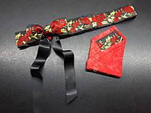 Opasky - Folk opasok kvetinový červeno-čierna kombinácia (Obojstranný s odnímateĺnou mašĺou) - 10440273_