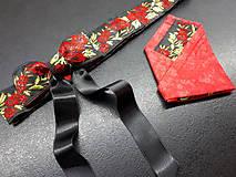 Opasky - Folk opasok kvetinový červeno-čierna kombinácia (Obojstranný s odnímateĺnou mašĺou) - 10440274_
