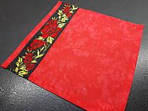 Opasky - Folk opasok kvetinový červeno-čierna kombinácia (Obojstranný s odnímateĺnou mašĺou) - 10440277_
