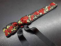 Opasky - Folk opasok kvetinový červeno-čierna kombinácia (Obojstranný s odnímateĺnou mašĺou) - 10440284_