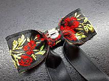 Opasky - Folk opasok kvetinový červeno-čierna kombinácia (Obojstranný s odnímateĺnou mašĺou) - 10440289_