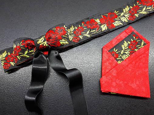 Folk opasok kvetinový červeno-čierna kombinácia (Obojstranný s odnímateĺnou mašĺou)