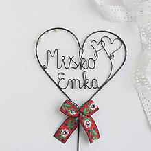 Dekorácie - svadobný zápich s menami (červená- folk) - 10438807_