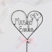 Dekorácie - svadobný zápich s menami (ružová) - 10438819_