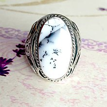 Prstene - Dendritic Opal Massive Ring / Prsteň s dendritickým opálom #1511 - 10441748_