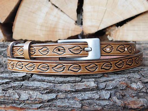 Kožený opasok 1,5 cm - Lístoček z brezy