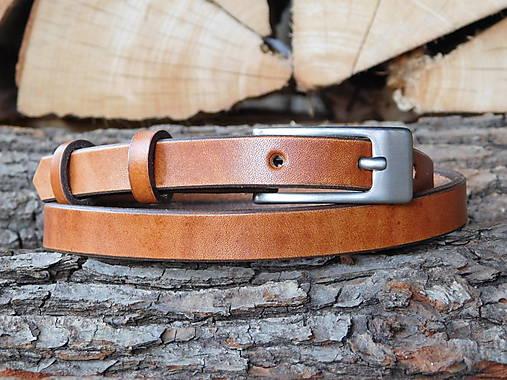 Úzky kožený opasok 1,5 cm - Gaštanko
