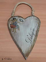 Dekorácie - Veľké srdce - ĎAKUJEM, buk - 10440005_