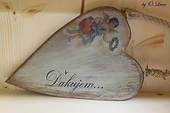 Dekorácie - Veľké srdce - ĎAKUJEM, buk - 10440006_