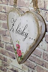 Shabby srdce s ružou - Z lásky..., smrek