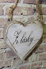 Dekorácie - Shabby srdce do dlane - Z lásky..., buk - 10440112_
