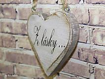 Dekorácie - Shabby srdce do dlane - Z lásky..., buk - 10440113_