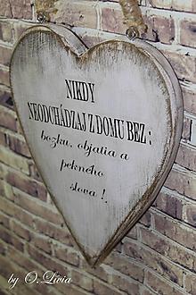 Tabuľky - Veľké shabby srdce - Nikdy neodchádzaj..., buk - 10440039_