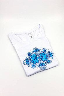 Tričká - Modraské tričko s ružou, DÁMSKE - 10440479_