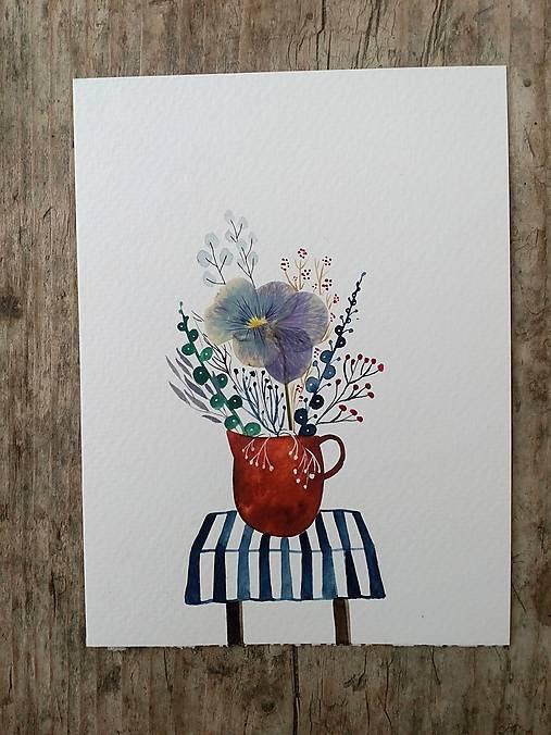 Kvety vo váze ilustrácia / koláž