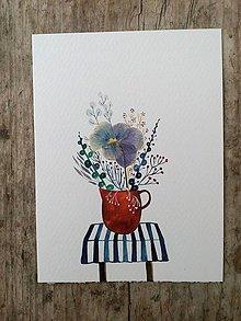 Obrazy - Kvety vo váze ilustrácia / koláž - 10438654_