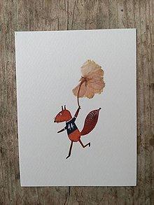 Obrazy - Veverička ilustrácia / koláž - 10438666_