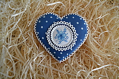 Dekorácie - Medovníkové srdce Modrotlač - 10439543_
