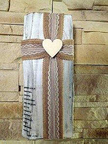Dekorácie - folkový krížik na masívnom dreve 4 - 10438756_
