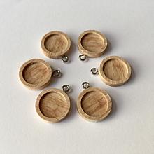 Komponenty - 6ks| Dřevěné lůžko s očkem 12 mm - platinová - 10441365_
