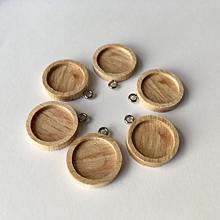 Komponenty - 6ks| Dřevěné lůžko 14.5 mm s očkem - platinová - 10441386_