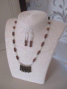 Sady šperkov - Náhrdelník s náušnicami v hnedo zlatých odtieňoch - 10441555_