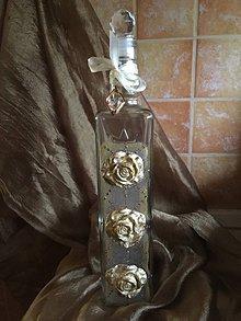 Nádoby - Fľaška - Tri zlaté ruže - 10440374_