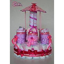 Detské doplnky - Veľká plienková torta KOLOTOČ - 10442162_