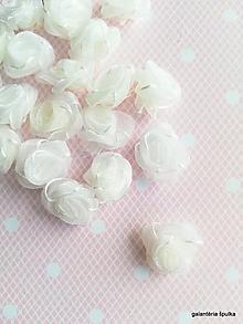 Galantéria - textilná ruža organzová 15mm - 10439490_