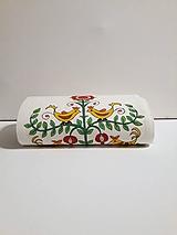 Maľovaný stredový obrus - biely,  20 x 130 cm