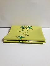 Maľovaný obrus stredový - zeleno žltý, 43 x 144,4 cm
