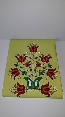 Úžitkový textil - Maľovaný obrus stredový - žlto zelený, 40 x 140 cm - 10435952_