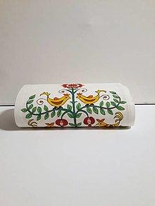Úžitkový textil - Maľovaný stredový obrus - biely,  20 x 130 cm - 10438662_