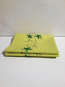 Úžitkový textil - Maľovaný obrus stredový - zeleno žltý, 43 x 144,4 cm - 10438762_