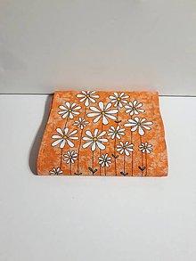 Úžitkový textil - Maľovaný obrus stredový - oranžový melír, 21 x 122 cm - 10439036_