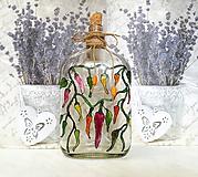 Nádoby - Maľovaná fľaša feferónky - 10441036_