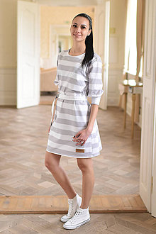 Šaty - dámske šaty Oversize GREY STRIP - 10438576_