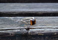 Šperky - Tigrie oko strieborný prsteň - 10440325_