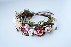 Ozdoby do vlasov - Nežný kvetinový venček s bobulkami - 10438068_