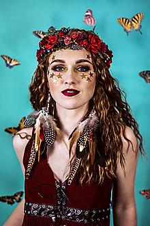 Ozdoby do vlasov - Lesný kvetinový venček s bobulkami - 10438046_