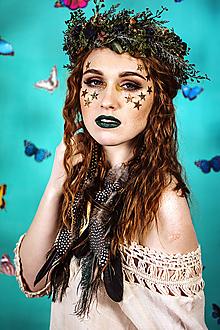 Ozdoby do vlasov - Greenery kvetinový venček s bobulkami - 10438057_