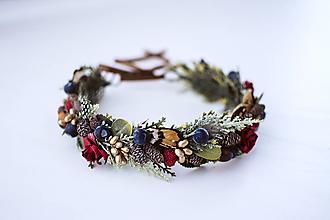 Ozdoby do vlasov - Lesný kvetinový venček s bobulkami - 10438059_