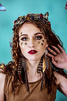 Ozdoby do vlasov - Lesný kvetinový venček s bobulkami - 10438061_