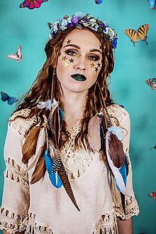Náušnice - Modré bohémske pierkové náušnice - 10438147_