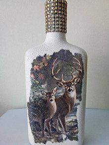 Nádoby - Fľaša z jeleňom a srnou - 10440073_