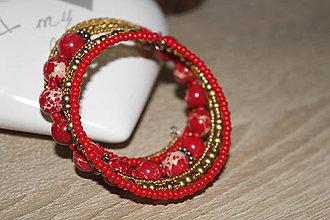 Náramky - Náramok vrstvený - červený - 10441463_