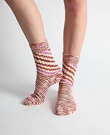 Obuv - Vlnené ponožky - ružovobiele - 10441750_